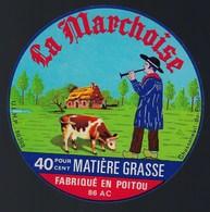"""Etiquette Fromage  La Marchoise  Fabriqué En Poitou 86 AC """" Joueur De Flute, Vache"""" - Cheese"""