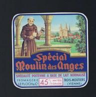 """Etiquette Fromage  Spécial Moulin Des Anges 45%mg  """"moine"""" Fromagerie Le Floch & Cie Trois-Moutiers Vienne 86 - Cheese"""