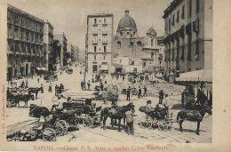 NAPOLI CHIESA DI S. ANNA E VECCHIO CORSO GARIBALDI 1900 ANIMATA - Napoli