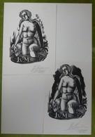 2 Ex-libris Illustrés Belgique XXème - J.V.M. - Femme Nue Se Baignant Signée JAEGHER - Bookplates