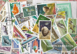 Motives 100 Different Stamps  Fish And Aquatic Animals In Complete Expenditure - Fishes