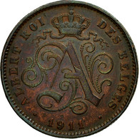 Monnaie, Belgique, Albert I, 2 Centimes, 1911, TTB+, Cuivre, KM:64 - 1909-1934: Albert I