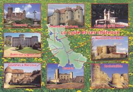 42 LA LOIRE ET SES CHATEAUX  - CARTE GEOGRAPHIQUE AVEC MULTIVUES - Cartes Géographiques