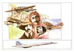 IIlustrateur P. Oriol - Enghien Les Bains - Aviation - Avions - Aviateurs - Louis Blériot  ?- Femmes - Autographe -Signé - Künstlerkarten
