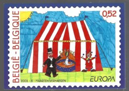 Belgique CP  Représentant Le Timbre Europa 2002 Le Cirque ** - Timbres (représentations)