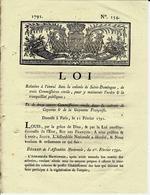 1791 COLONIES FRANCAISES REVOLUTION   LOI ST DOMINGUE HAITI  EMEUTES ENVOI DE TROIS COMMISSAIRES CIVILS V.SCANS+HISTORIQ - Decrees & Laws