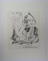 Ex-libris Illustré Belgique XXème - L. ASPERSLAG - Femme Nue, Mort Et Sa Faux à Cheval - Bookplates
