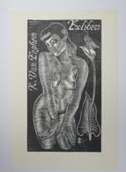 Ex-libris Illustré Belgique XXème -  K. VAN EEGHEM - Femme Nue - Bookplates