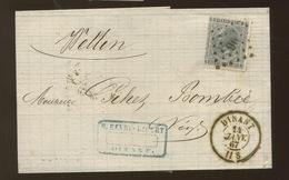 17 Sur Lettre  Avec Cachet D'arrivée Au Verso - 1865-1866 Linksprofil