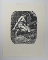 Ex-libris Illustré Belgique XXème -  KAREL VAN EEGHEM - Femme Nue Au Cygne - Bookplates