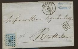 18 Sur Lettre  Avec Cachet D'arrivée Au Verso - 1865-1866 Linksprofil