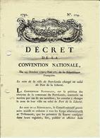"""1792 REVOLUTION  DECRET CONVENTION NATIONALE LORIENT  """"PORT LOUIS"""" Changé En """"PORT DE La Liberté"""" - Décrets & Lois"""