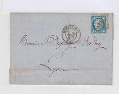 Sur Lettre Cérès 25 C. Bleu Type 2, Oblitération Losange. CAD Montélimar 1874. Avec Courrier. (691) - Marcophilie (Lettres)