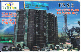 SOMALILAND - Telecom Building, TeleSom Prepaid Card US$2, Used - Phonecards