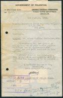 1943 Palestine Government Official Public Works Department Document Jerusalem - Tel Aviv. OHMS - Palestine
