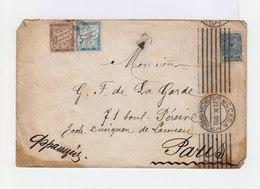 Sur Enveloppe 7 K Bleu 1909. CAD Mockba 1910. Deux Timbres Taxes Français. (692) - Marcophilie - EMA (Empreintes Machines)