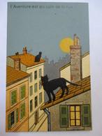 "CPA  CHAT NOIR  - "" L'Aventure Au Coin De La Rue ""   Editions Calliope, Marseille  TBE - Cats"