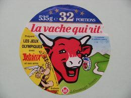 """Etiquette Fromage Fondu - Vache Qui Rit - Bel 32 Portions Pub Astérix D'Uderzo&Goscinny """"Aux Jeux Olympiques""""  A Voir ! - Cheese"""