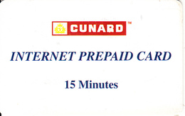 UK - Cunard Cruise Line, Internet Magnetic Prepaid Card 15 Min, Used - United Kingdom