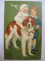 CPA FANTAISIE - Illustration Enfants Et Saint Bernard -    TBE - Dogs