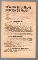 (39-45) Libération De La France, Libération Du Franc 1945 (PPP9290) - Documenti Storici