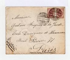 Sur Enveloppe Deux Timbres Armories Empire Russe 5 K. Lilas. CAD Mockba 1908. (695) - Marcophilie - EMA (Empreintes Machines)