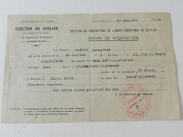 Militaria - Armentières (59) - Ordre De Réquisition - Direction Du Roulage - 1944 - Documents Historiques