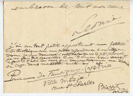 PRINCESSE PAULE (?)  FAUCIGNY-CYSTRIA. PETITE LAS DE BIARRITZ - Autographs
