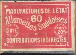 Ancienne Boite D'allumettes Manufacture De L'état 60 Allumettes Suédoises 20c 1920 Contributions Indirectes En Bois 101E - Boites D'allumettes
