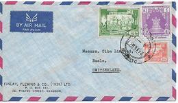 BURMA MYANMAR Old Cover Sent To Basle 3 Stamps COVER USED - Myanmar (Burma 1948-...)