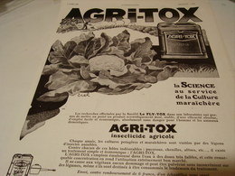 ANCIENNE PUBLICITE AGRI-TOX  1930 - Other
