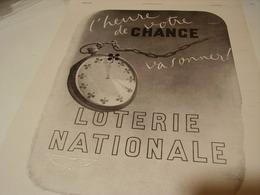 ANCIENNE PUBLICITE HEURE DE VOTRE CHANCE LOTERIE NATIONNAL 1941 - Unclassified