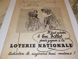 ANCIENNE PUBLICITELE BON BILLET LOTERIE NATIONNAL 1940 - Unclassified