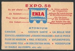 """AK Vandenheuvel, Ausstellung 1958 """"Ekla"""", Brauerei-Werbung Für Das """"Vedette-Bier"""" - Expositions"""
