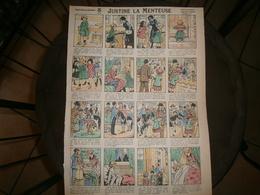 ANCIENNE PLANCHE  JUSTINE LA MENTEUSE  N 17  IMAGERIES REUNIES DE JARVILLE NANCY VERS 1890/1900 - Collections