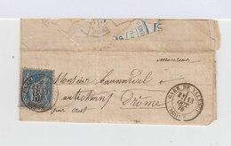Sur Lettre Avec Courrier Type Sage 15 C. Bleu. Oblitéré CAD Gare De Valence 1878. (697) - Marcophilie (Lettres)