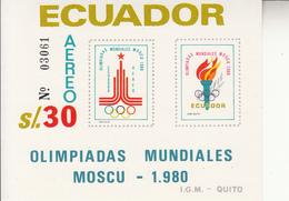 1980 Ecuador Moscow Olympics  Souvenir Sheet MNH - Equateur