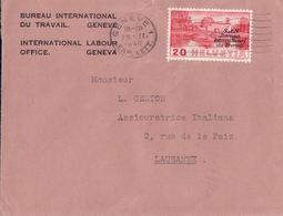 Lettre Suisse BIT, Genève - Lausanne, Timbre Surchargé SDN (26.2.1940) - Service