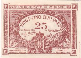 .D.18-2102  : BILLET PRINCIPAUTE DE MONACO. 25 CENTIMES. - Mónaco