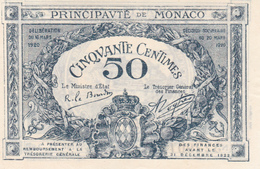 .D.18-2103  : BILLET PRINCIPAUTE DE MONACO. 50 CENTIMES. - Mónaco