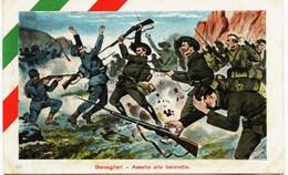 2066 - Italie -  Militaria :BERSAGLIERI  - ASSALTO  ALLA  BAIONETTA   CIRCULEE En 1915 - Guerra 1914-18