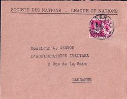 Lettre Suisse Société Des Nations, Genève - Lausanne, Timbre Surchargé Société Des Nations (29.11.1932) - Service