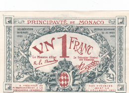 .D.18-2104  : BILLET PRINCIPAUTE DE MONACO. 1 FRANC. - Mónaco