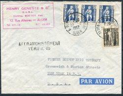 1952 Algeria Airmail Cover Heny Geneste & Co , Alger - Fisher Scientific, New York USA. Affranchissement Verifid - Algeria (1924-1962)