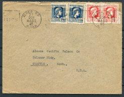 1945 Algeria Henry Geneste Cover - Alaska Pacific Salmon Co. Seattle USA - Algeria (1924-1962)