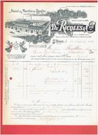 FACTURE 1899 ALCOOL DE MENTHE RICQLES USINE A SAINT OUEN SEINE SAINT DENIS MAISONS A PARIS 9 ET LYON COURS D HERBOUVILLE - Francia