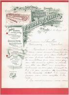 FACTURE 1899 IMPRIMERIE GRAVURE LITHOGRAPHIE PAPETERIE PLOTON ET CHAVE A SAINT ETIENNE PLACE VILLEBOEUF ET COURS FAURIEL - Stamperia & Cartoleria