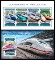 MOZAMBIQUE 2018 - Speed Trains, M/S + S/S. Official Issue - Mozambique
