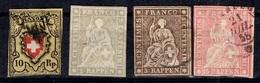 Suisse YT N° 15 Obl, N° 25 (*), N° 26 Obl. Et N° 28 Obl. A Saisir! - 1843-1852 Timbres Cantonaux Et  Fédéraux