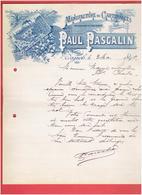 FACTURE 1899 MANUFACTURE DE CARTONNAGE PAUL PASCALIN A BAGNOLS SUR CEZE GARD USINE A VAPEUR IMPRESSIONS EN TOUT GENRE - Stamperia & Cartoleria